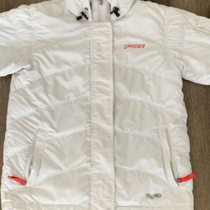 Women's Spyder Snowboard White Puff Jacket
